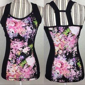 Cynthia Rowley black floral athletic workout tank